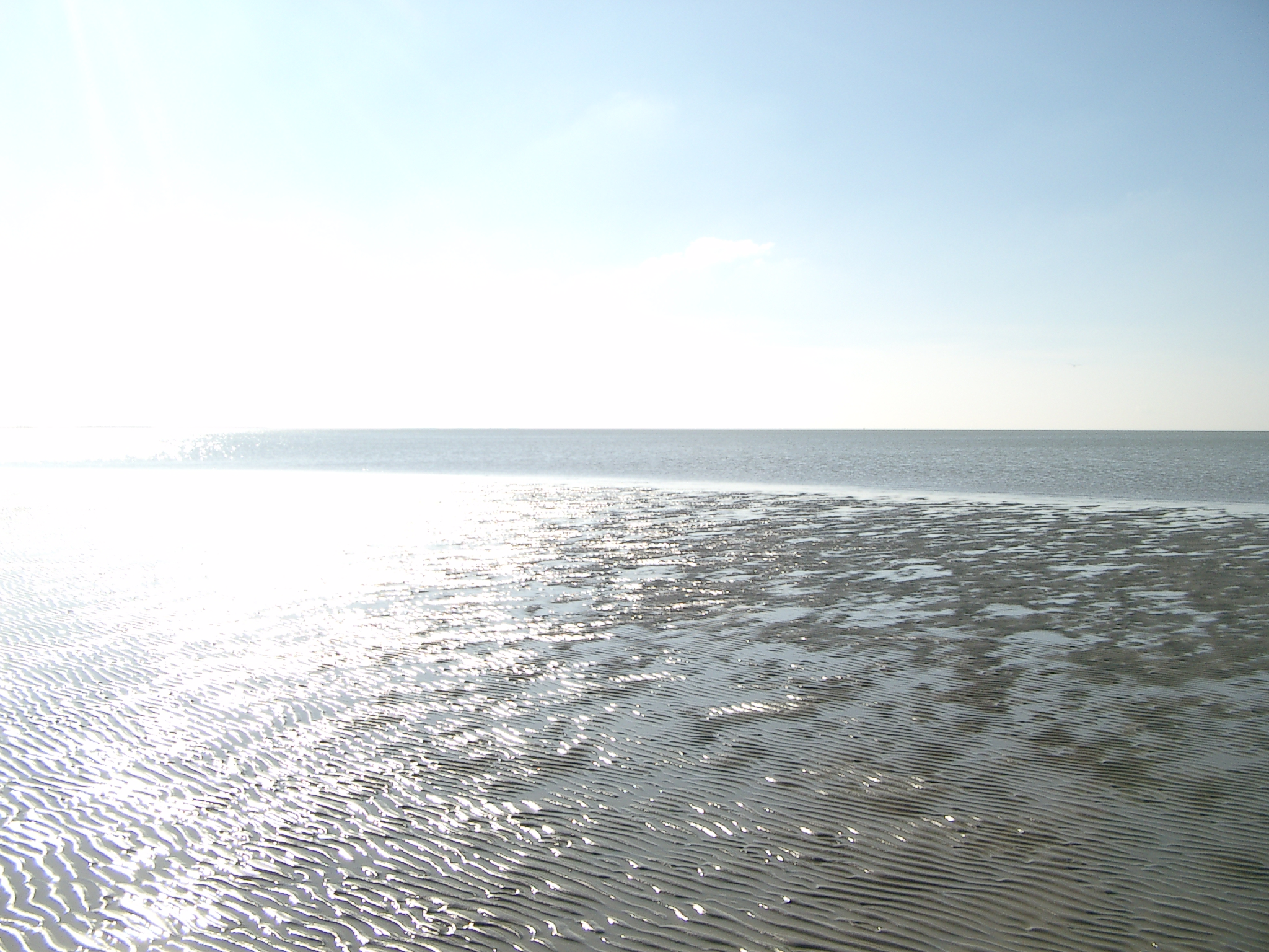 น้ำลดค่ะ จะเห็นทรายเป็นริ้วๆ ตรงนี้เดินได้นะคะ ทรายไม่ยวบลง ทรายแน่นเชียวค่ะ ว่ากันว่า บางฤดู สามารถเดินไปถึงเกาะได้เลยค่ะ (แต่ต้องเดินกับผู้เชี่ยวชาญเท่านั้นนะคะ มีจัดเป็นกิจกรรมทุกปีค่ะ)